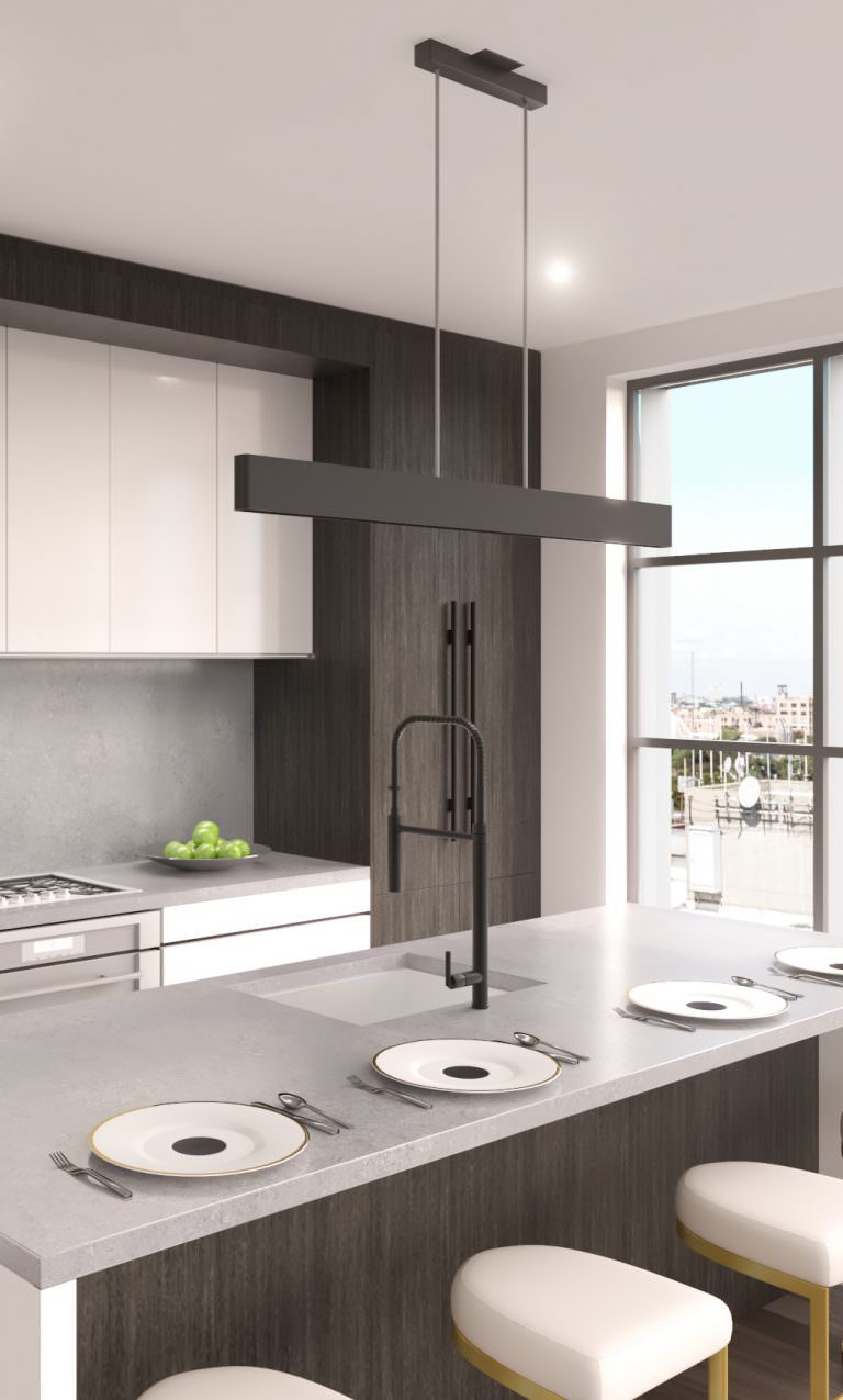 1400 Monroe home kitchen with pendant and under-cabinet lighting